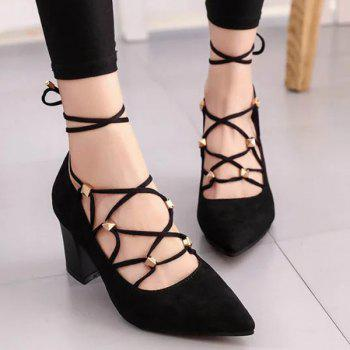 Rivets Tie Up Cross Straps Pumps
