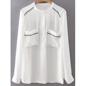 Stand Neck Long Sleeve Double Pockets Chiffon Shirt