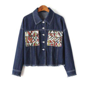 Shirt Collar Long Sleeve Print Pockets Denim Jacket