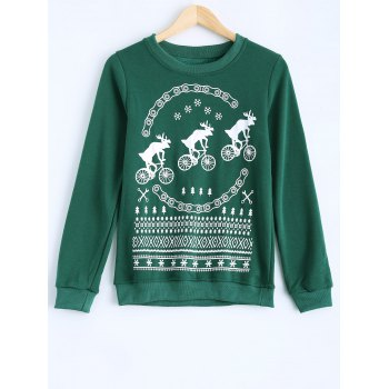Milu Printed Round Collar Fleece Warm Sweatshirt - GREEN GREEN