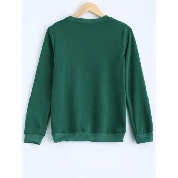 Milu Printed Round Collar Fleece Warm Sweatshirt - GREEN M