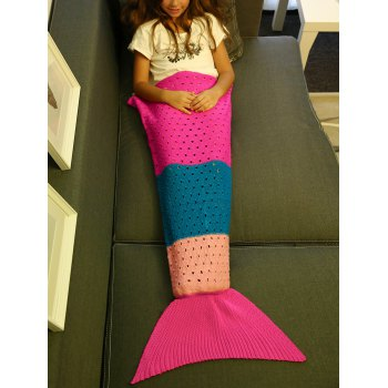 Comfortable Color Block Crochet Knitting Mermaid Tail Blanket For Kids - COLORMIX COLORMIX