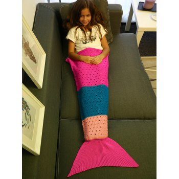 Comfortable Color Block Crochet Knitting Mermaid Tail Blanket For Kids - S S