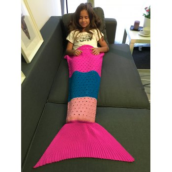 Comfortable Color Block Crochet Knitting Mermaid Tail Blanket For Kids - COLORMIX S