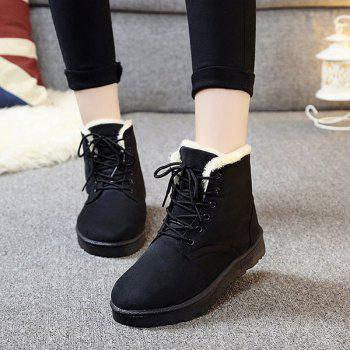 Lace Up Fur Trim Ankle Boots
