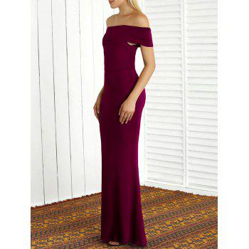 Off The Shoulder Sheath Mermaid Maxi Dress - WINE RED M