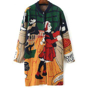Stand Neck Long Sleeve Cartoon Print Cute Cardigan