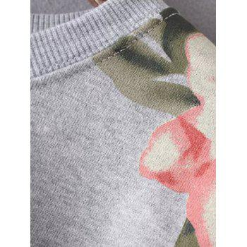 Round Neck Long Sleeve Floral Print Casual Sweatshirt - GRAY GRAY