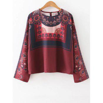 Round Neck Long Sleeve Vintage Printed Blouse
