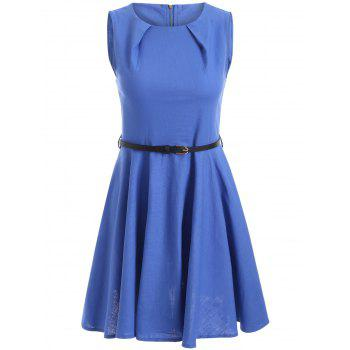 Sleeveless Solid Color Flare Dress - BLUE M