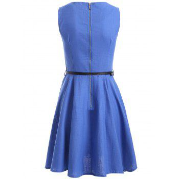Sleeveless Solid Color Flare Dress - M M