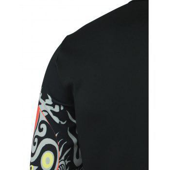 Peking Opera Face Print Round Neck Long Sleeve Men's T-Shirt - BLACK M