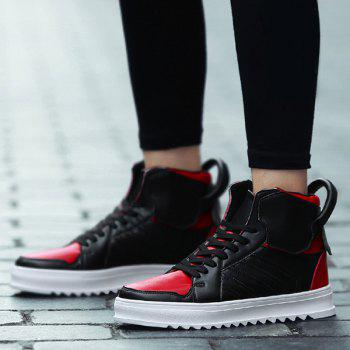 Lace Up Leather High Top Casual Shoes - RED/BLACK 40