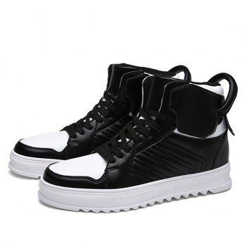 Lace Up Leather High Top Casual Shoes - WHITE/BLACK 42