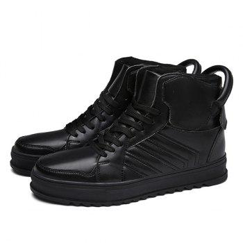 Lace Up Leather High Top Casual Shoes - BLACK 44