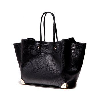 Magnetic PU Leather Metal Corner Shoulder Bag - BLACK