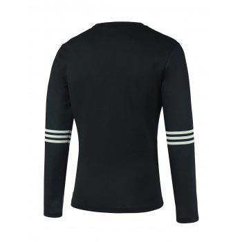 Round Neck Long Sleeve Gradient Stripe Print Sweatshirt - BLACK M