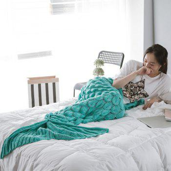 Super Soft Fish Scale Knit Sleeping Bag Mermaid Blanket - MINT GREEN
