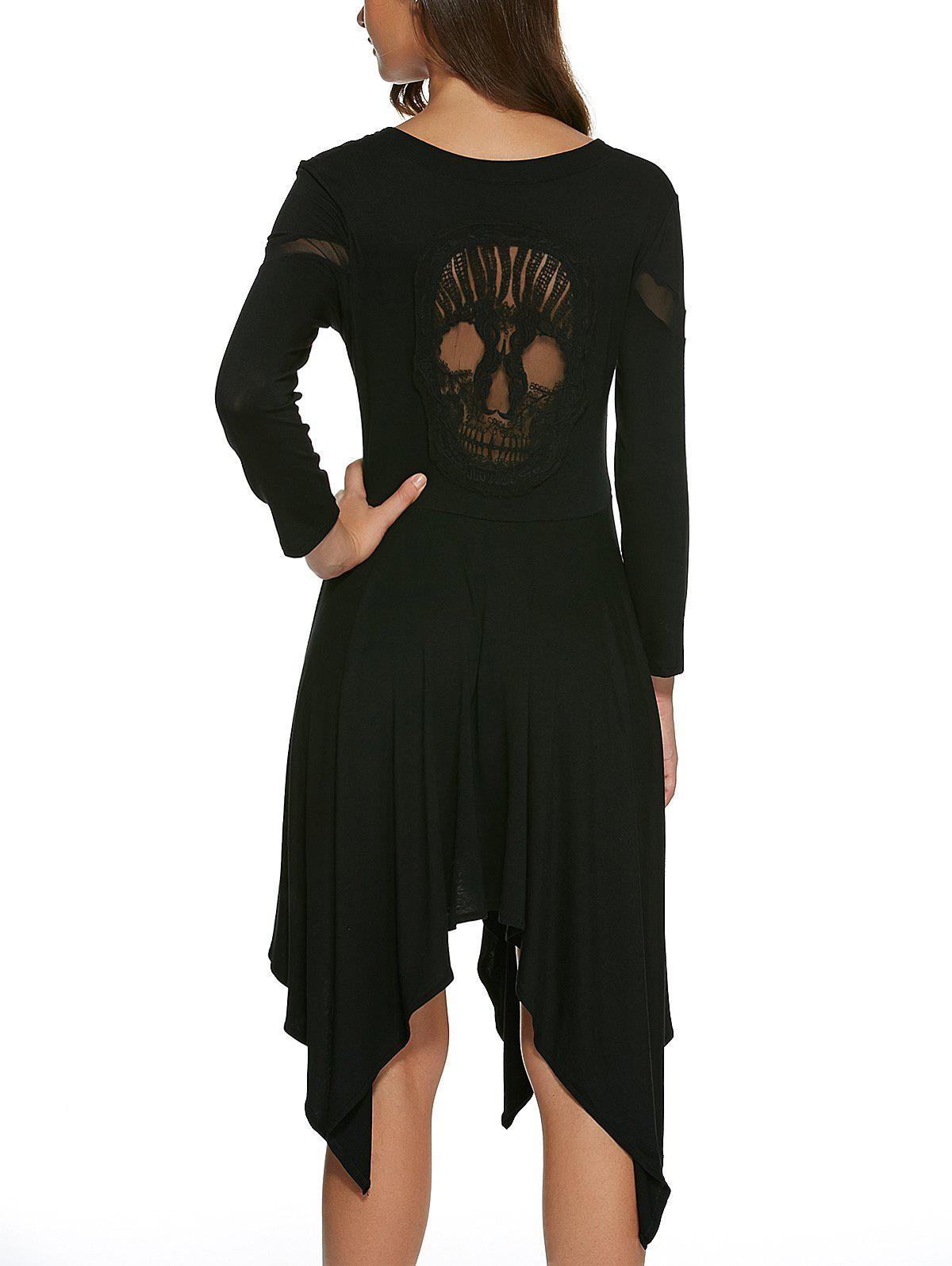 Skull Pattern Hollow Out Handckerchief Dress - BLACK S