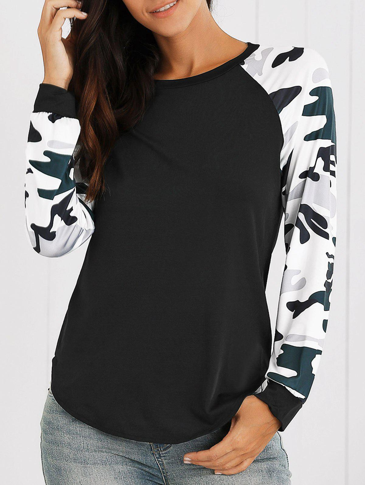 Raglan Sleeves Camo Print Asymmetric T-Shirt - BLACK M