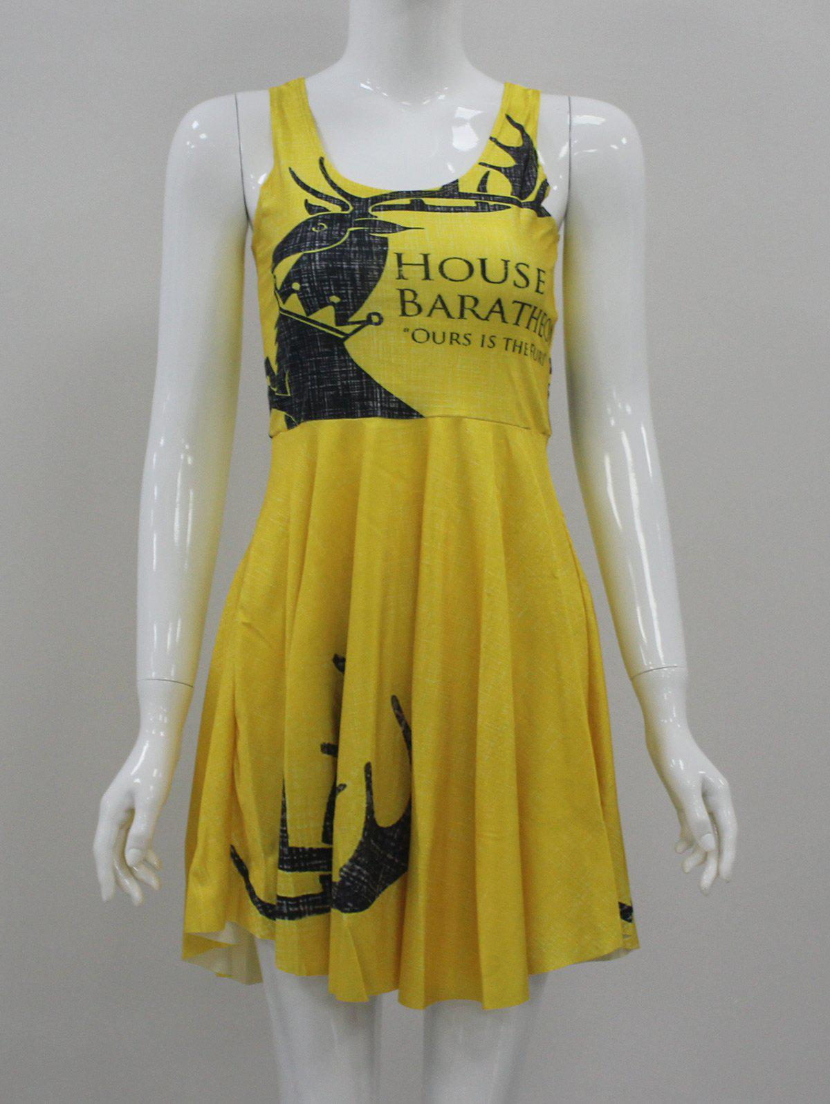 Printed Mini Fit and Flare Dress - YELLOW M