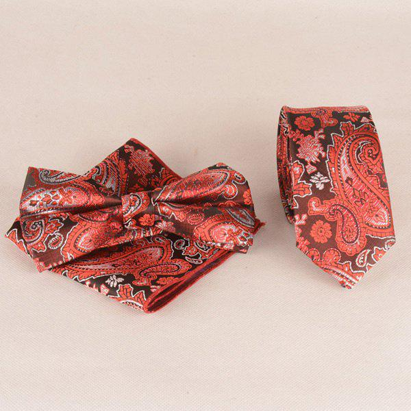 Casual Passionate Paisley Jacquard Cravate Set - Rouge