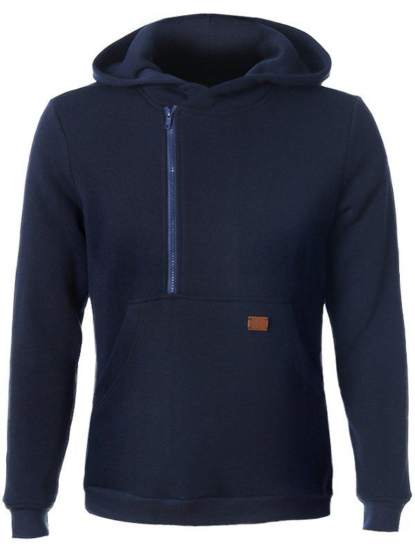 Long Sleeve Side Zip Up Pocket Front Hoodie - CADETBLUE 2XL