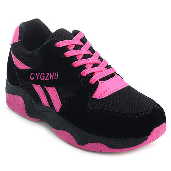 Splicing Tie Up Colour Block Athletic Shoes - BLACK/ROSE RED 40