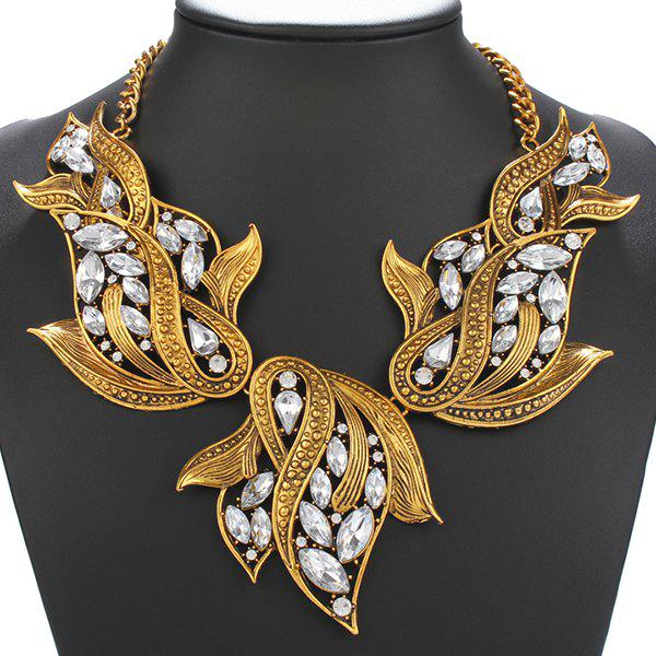 Winter Collocation Faux Rock Crystal Exaggerated NecklaceJewelry<br><br><br>Color: GOLDEN