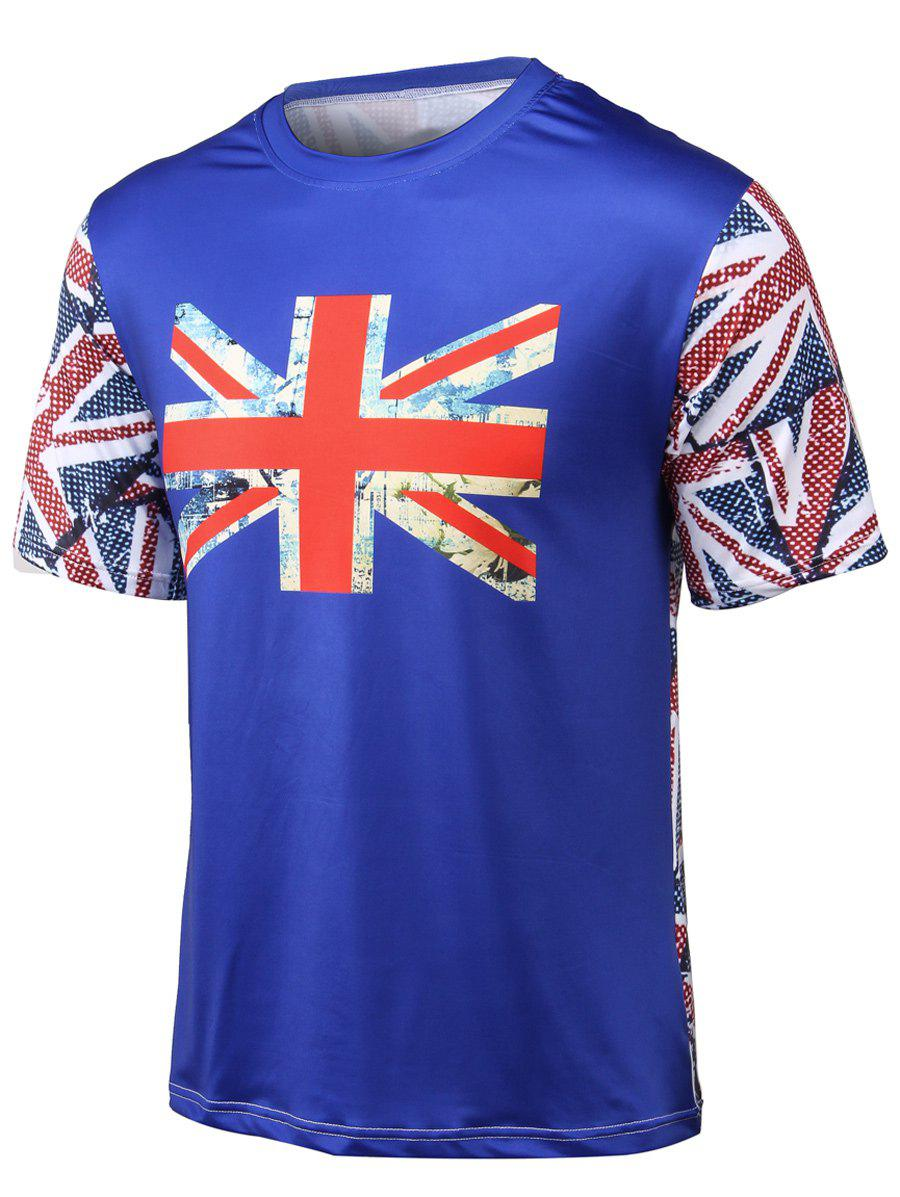 Round Neck Flag Printed Short Sleeve T-Shirt - BLUE 2XL