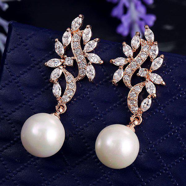 Pair of Faux Pearl Leaf Earrings - ROSE GOLD
