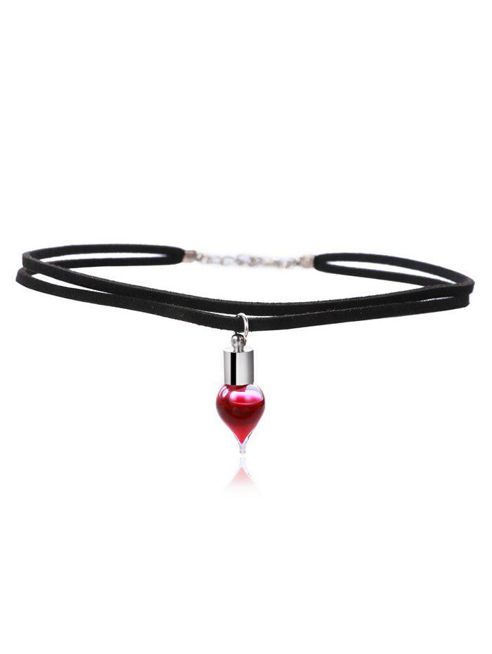 Layered Faux Leather Blood Halloween Necklace - BLACK