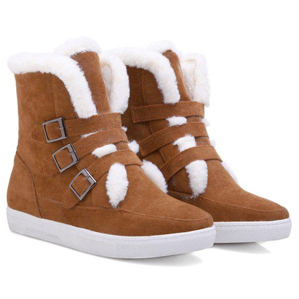 Buckle Woolen Suede Snow Ankle BootsShoes<br><br><br>Size: 37<br>Color: BROWN