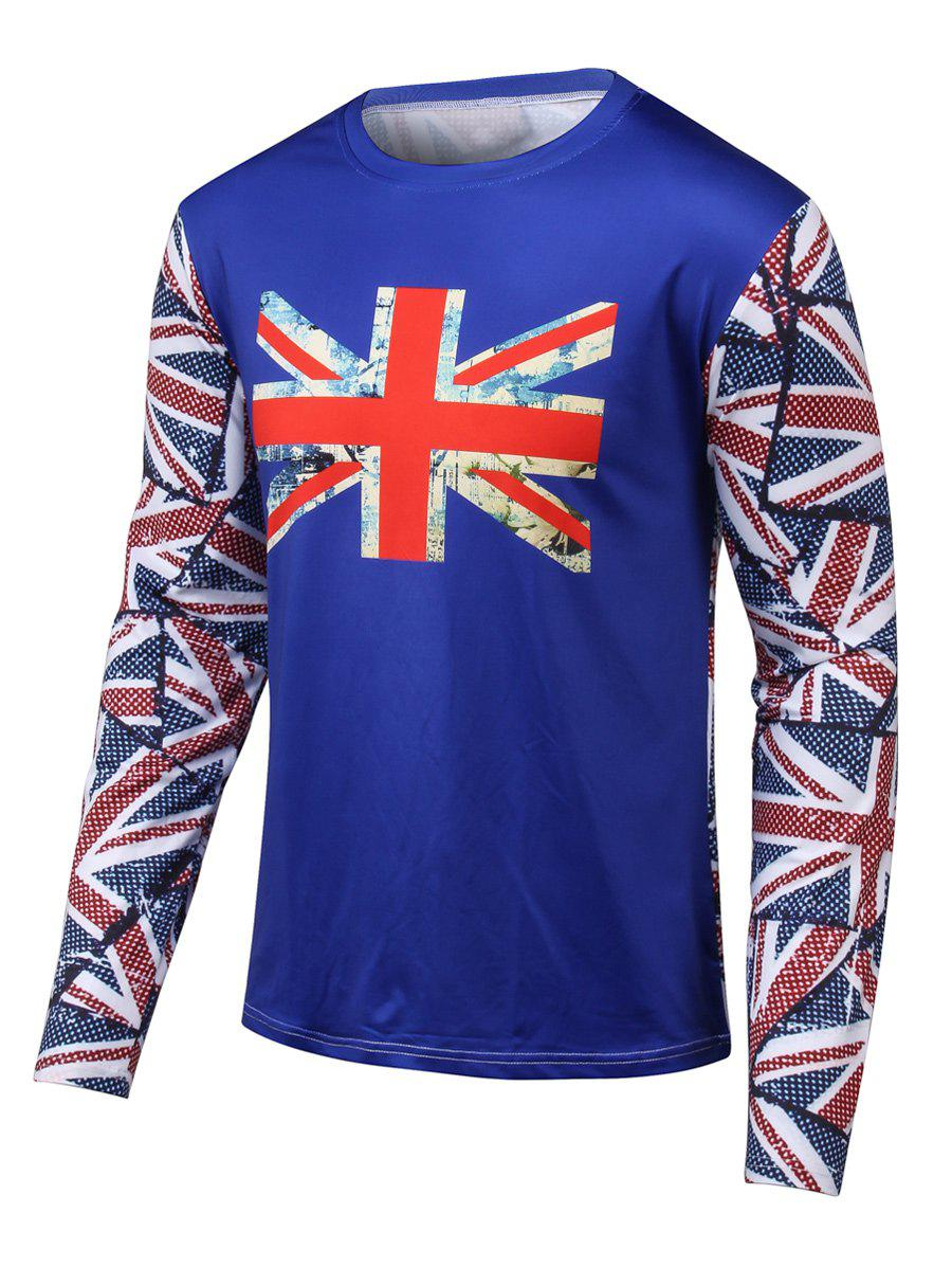 Long Sleeves Flag Printed Round Neck T-Shirt blue stripe stitching round neck long sleeves t shirt