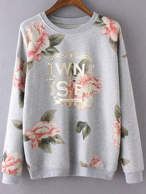 Round Neck Long Sleeve Floral Print Casual Sweatshirt - GRAY S
