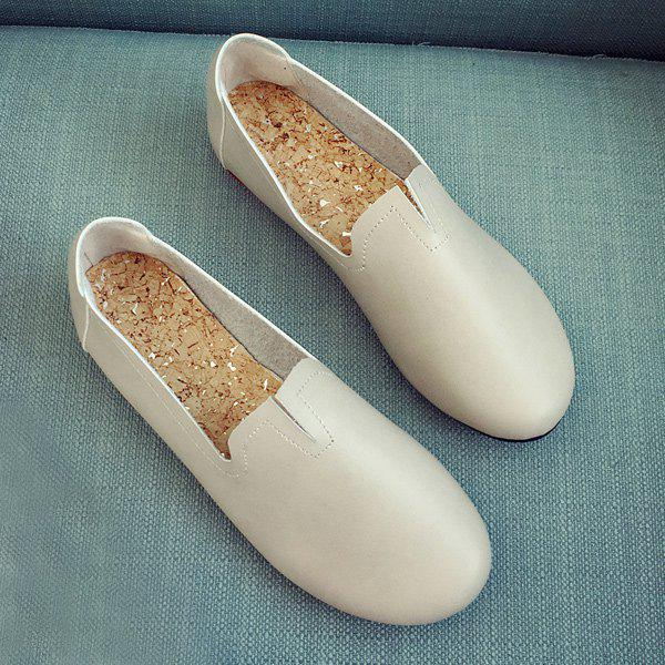Stitching Round Toe PU Leather Flat ShoesShoes<br><br><br>Size: 40<br>Color: LIGHT GRAY
