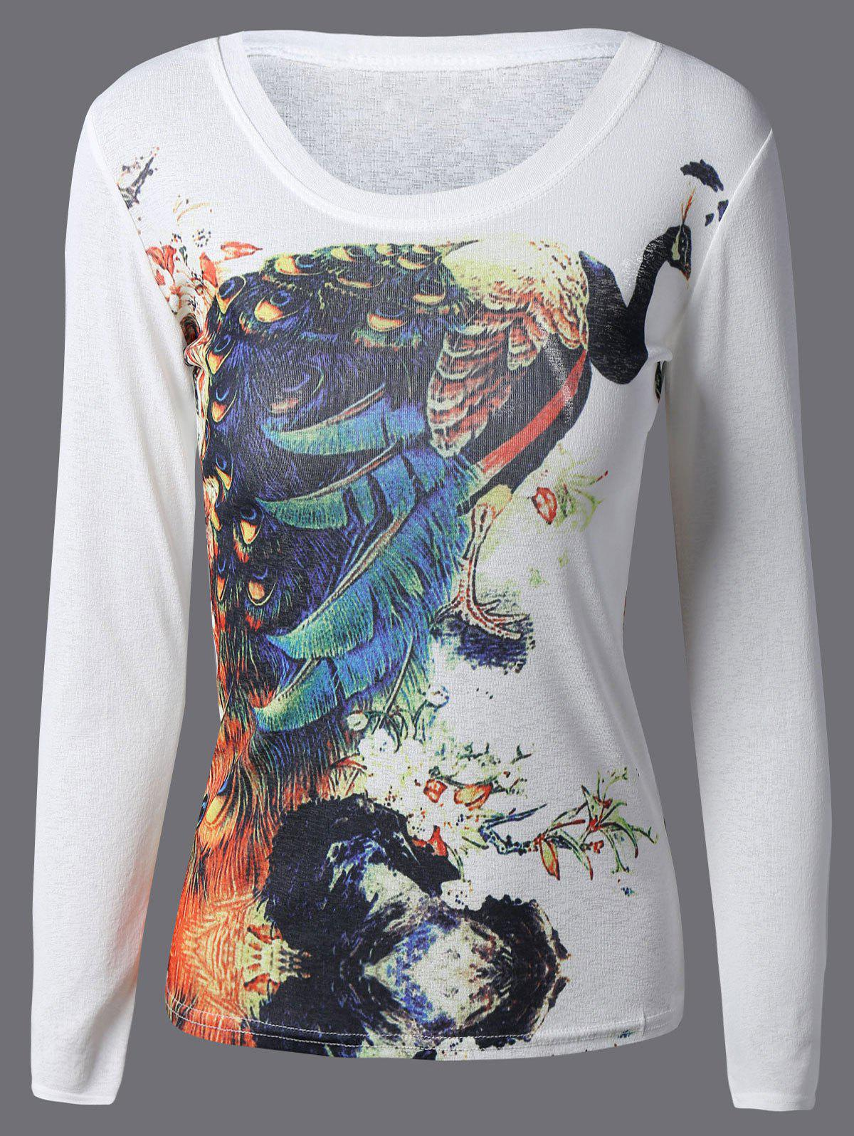 Peacock Graphic 3D Print T-ShirtWomen<br><br><br>Size: L<br>Color: WHITE