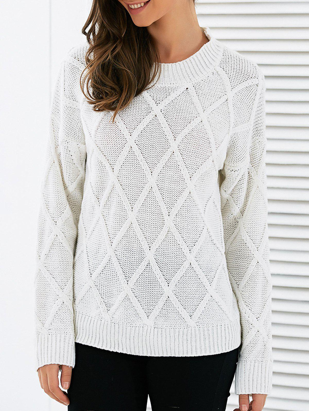 Long Sleeves Geometric Sweater - WHITE ONE SIZE