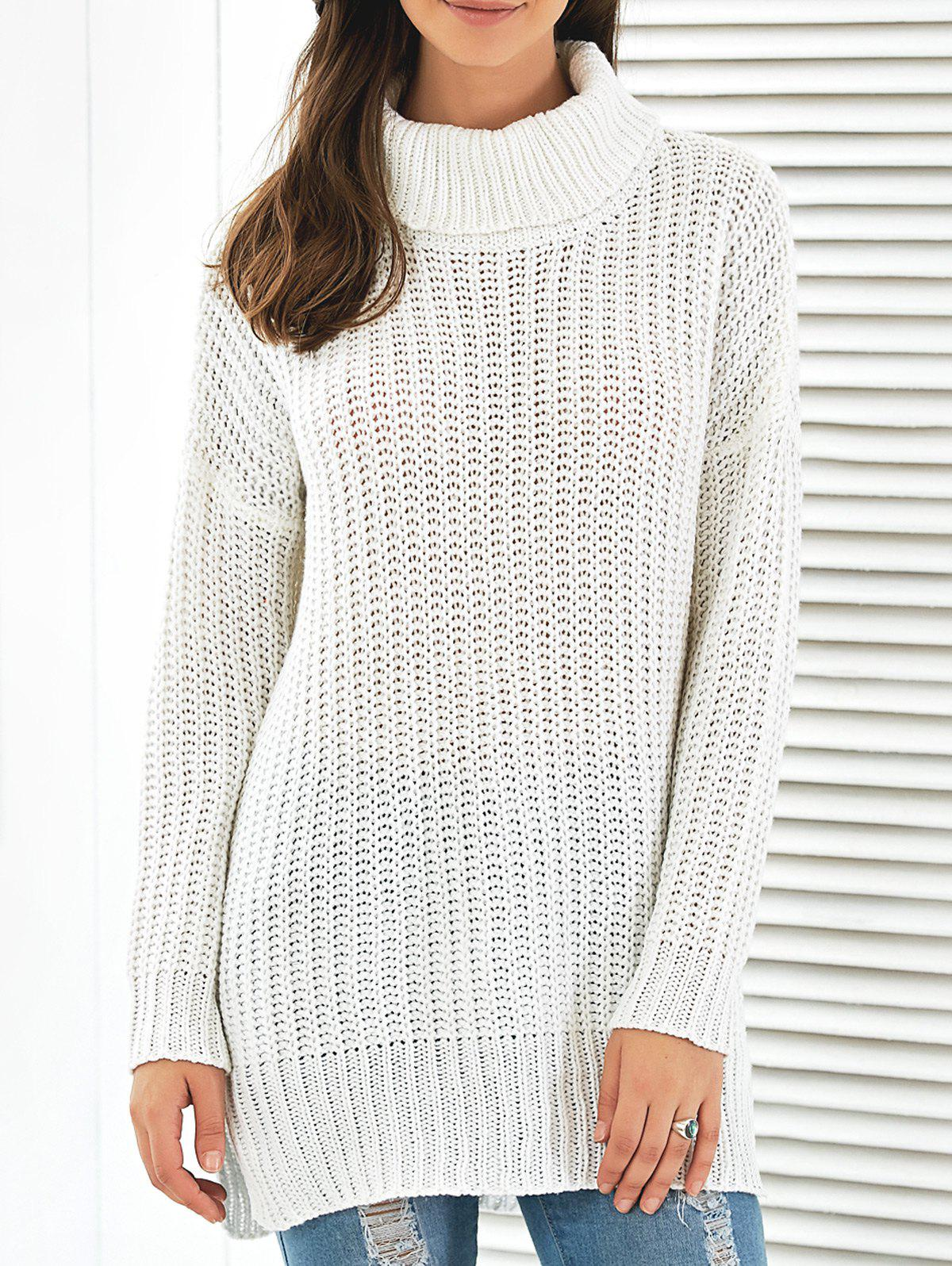 Side Slit Turtleneck Long Sweater side slit marled long hoodie