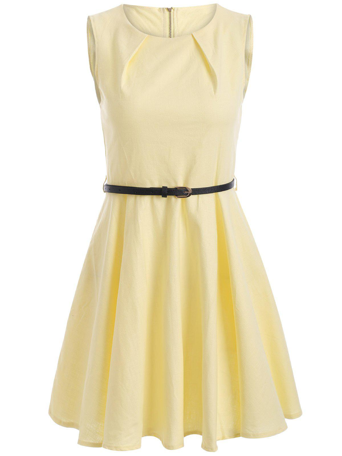 Sleeveless Solid Color Flare Dress - LIGHT YELLOW M