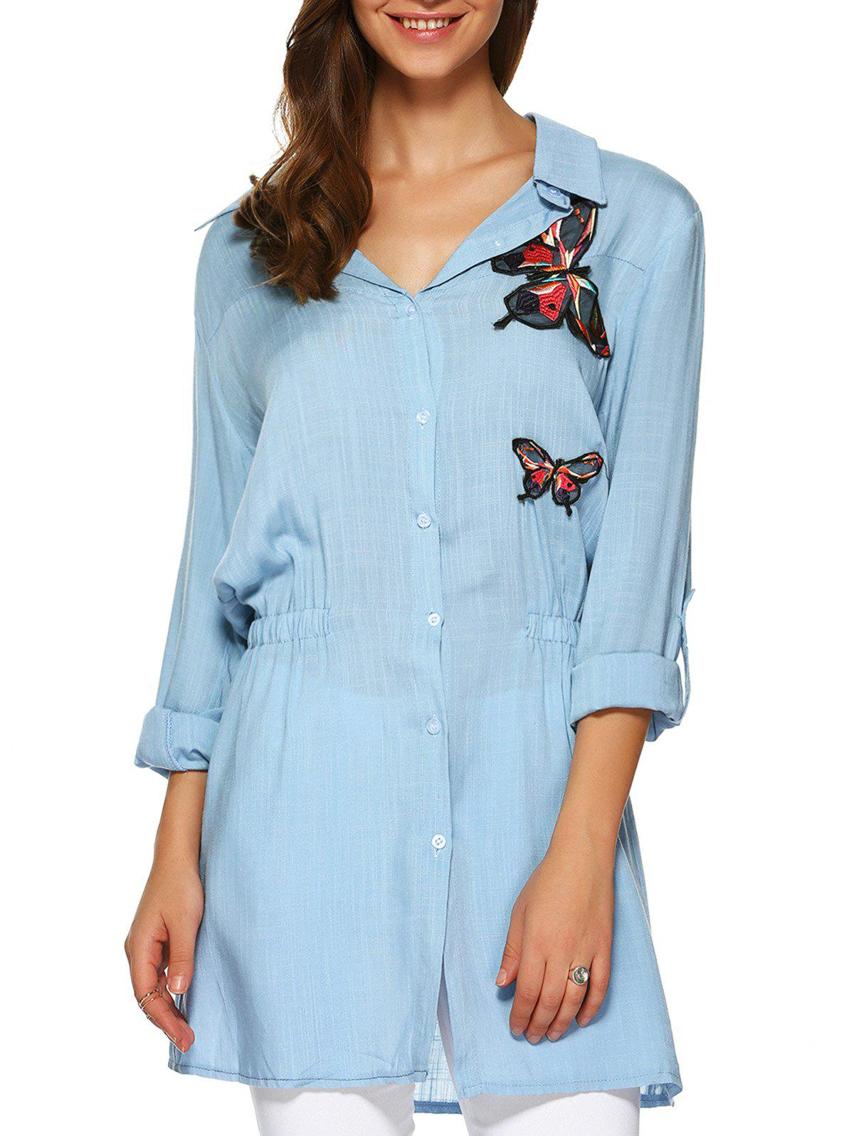 Butterfly Applique Elastic Waist Long Shirt