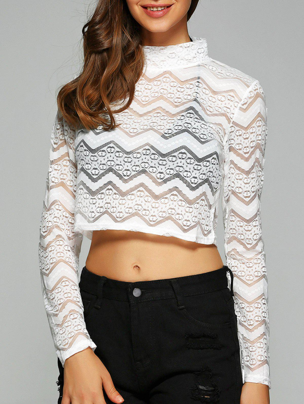 Laciness Zig Zag See-Through Crop Top - Blanc XL