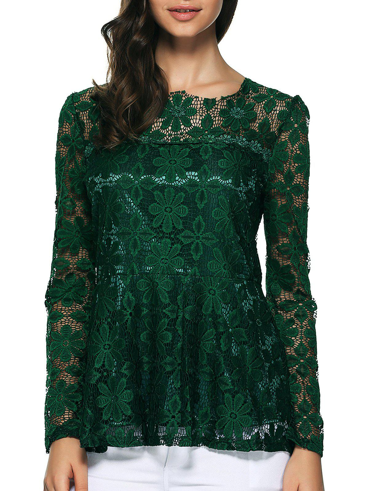 Pullover Lace Peplum BlouseWomen<br><br><br>Size: S<br>Color: GREEN