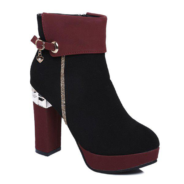 Chunky Heel Platform Color Block Short Boots, WINE RED in Boots ...