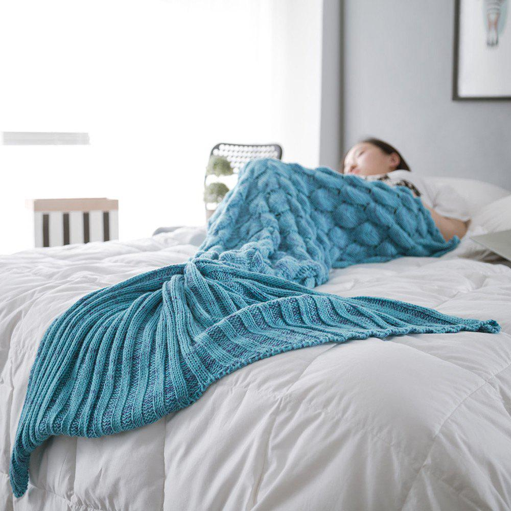 Super Soft Fish Scale Knit Sleeping Bag Mermaid Blanket - LAKE BLUE