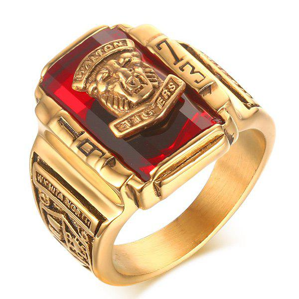 Faux Ruby Emboss Geometric Tiger Head Ring - RED 8
