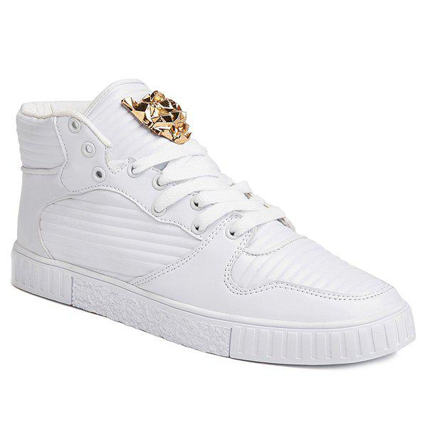 Tie Up Stitching Metal Casual Shoes - WHITE 44