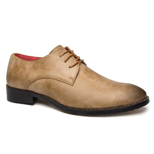 Point Toe Tie Up Leather Casual Shoes - KHAKI 43