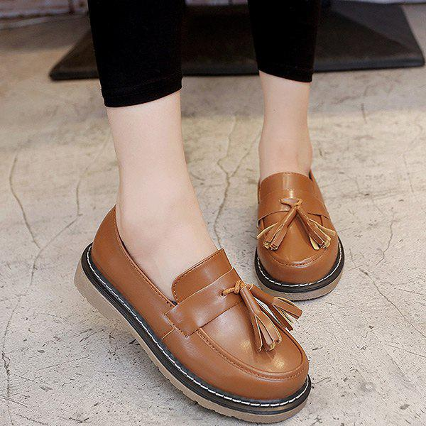 Preppy Tassel bout rond Chaussures plates - Brun 39