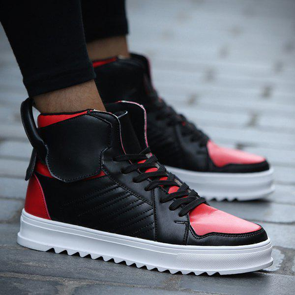 Lace Up Leather High Top Casual Shoes - RED/BLACK 44